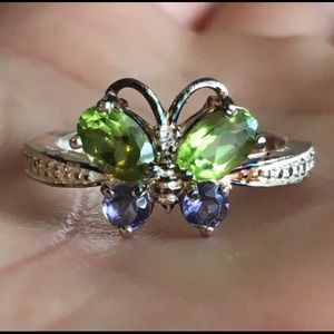 Vintage peridot and tanzanite butterfly ring